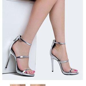 Metallic silver strappy heels